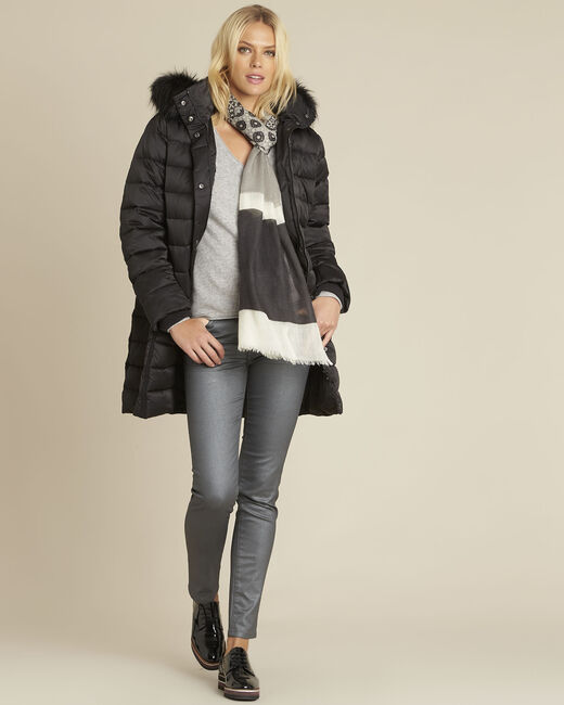 Paloma black faux fur hooded down jacket (1) - 1-2-3