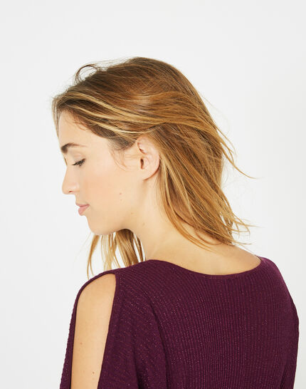 Pandore shiny blackcurrant sweater with bare arms (4) - 1-2-3