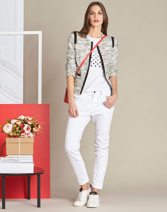 Elance white polka dot printed t-shirt in cotton white.