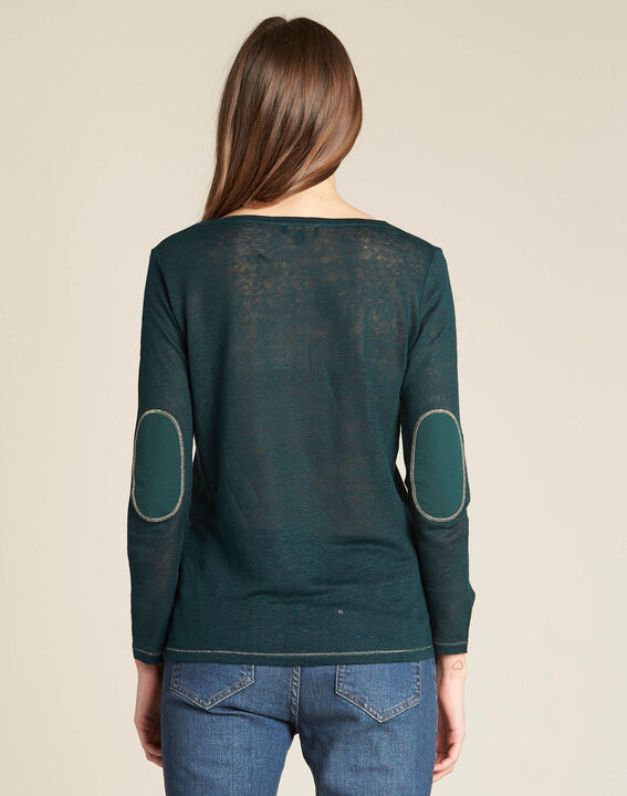 Elin fine forest green T-shirt in linen with golden topstitching (4) - 1-2-3
