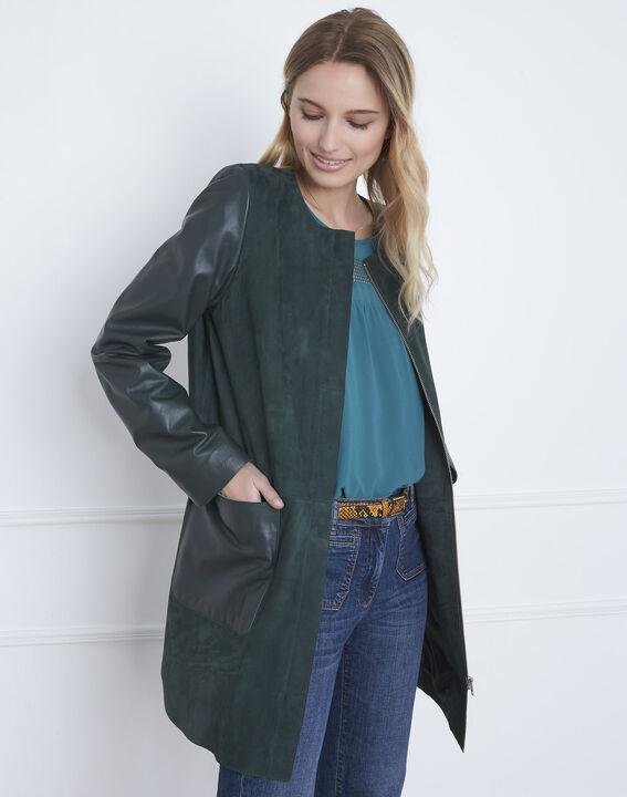 Manteau vert foncé en cuir Dtamara (2) - Maison 123