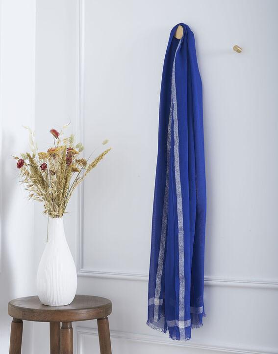 Foulard bleu en viscose détail lurex Orelia (1) - Maison 123