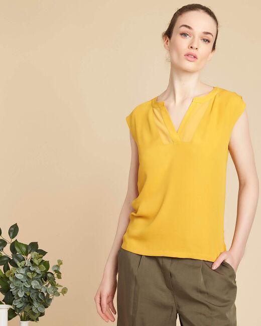 Tee-shirt jaune encolure résille Bianca (2) - 1-2-3