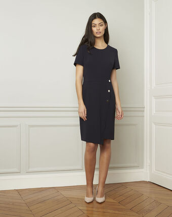 Lucia navy dress with button details navy.