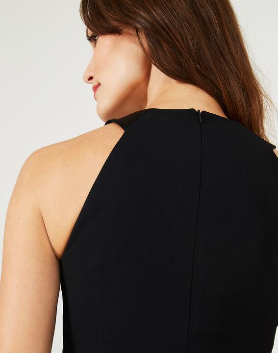 Robe noire fendue avec encolure strass Grenade (5) - 1-2-3