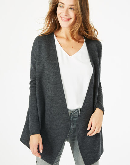 Papyrus long charcoal wool-blend cardigan jacket (2) - 1-2-3