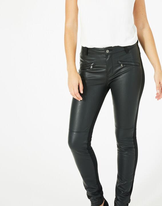 Pantalon noir slim milano faux cuir Kassy (2) - 1-2-3