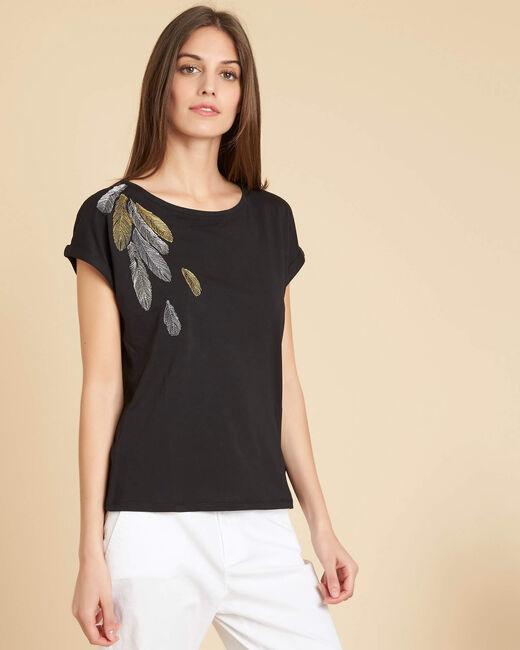Tee-shirt noir broderie plume Epine (2) - 1-2-3