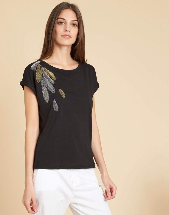 Schwarzes T-Shirt mit Feder-Stickerei Epine (3) - 1-2-3