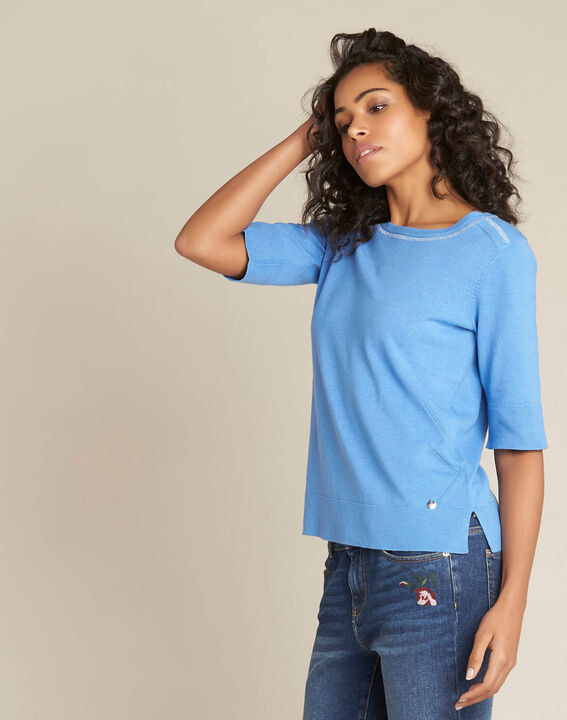 Nevada blue short-sleeved sweater in wool and silk (3) - 1-2-3