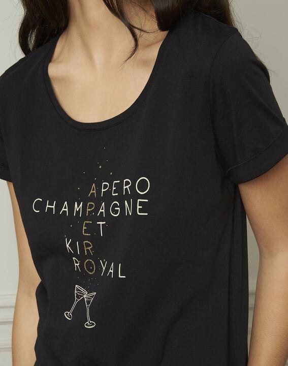 Tee-shirt noir sérigraphé Gala (4) - 1-2-3