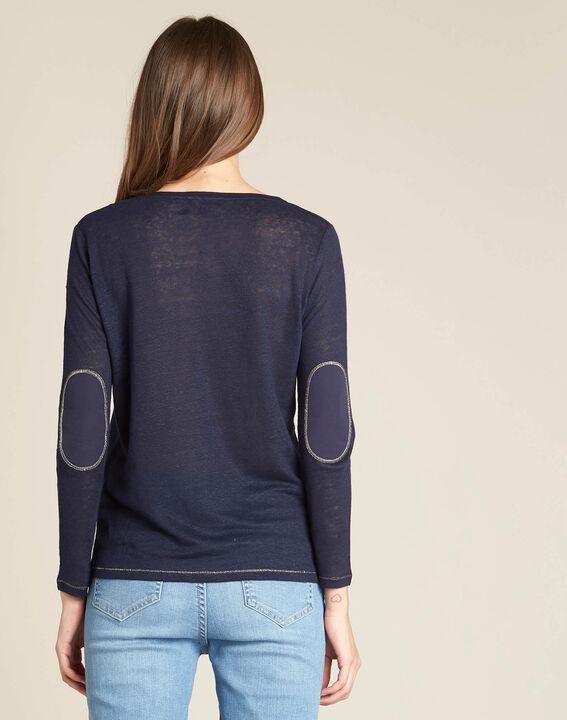 Dünner marineblauer Leinen-T-Shirt mit goldenen Ziernähten Elin (4) - 1-2-3