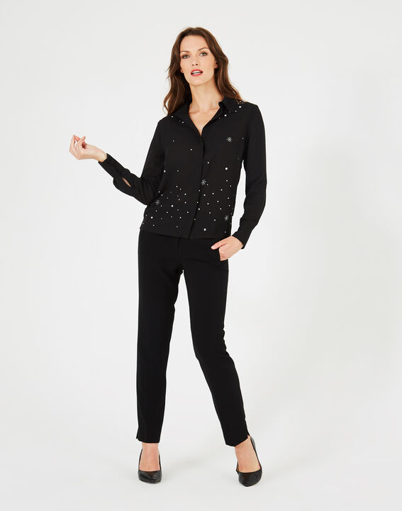 Chemise noire ornée de cristaux swarovski yasmine