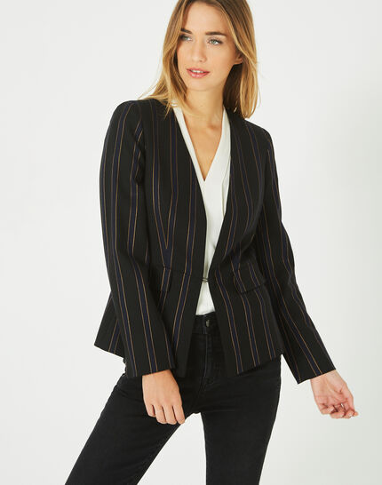 Maud navy blue and black striped tailored jacket (2) - 1-2-3