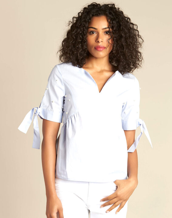 Glamour sky blue blouse with beading (3) - 1-2-3
