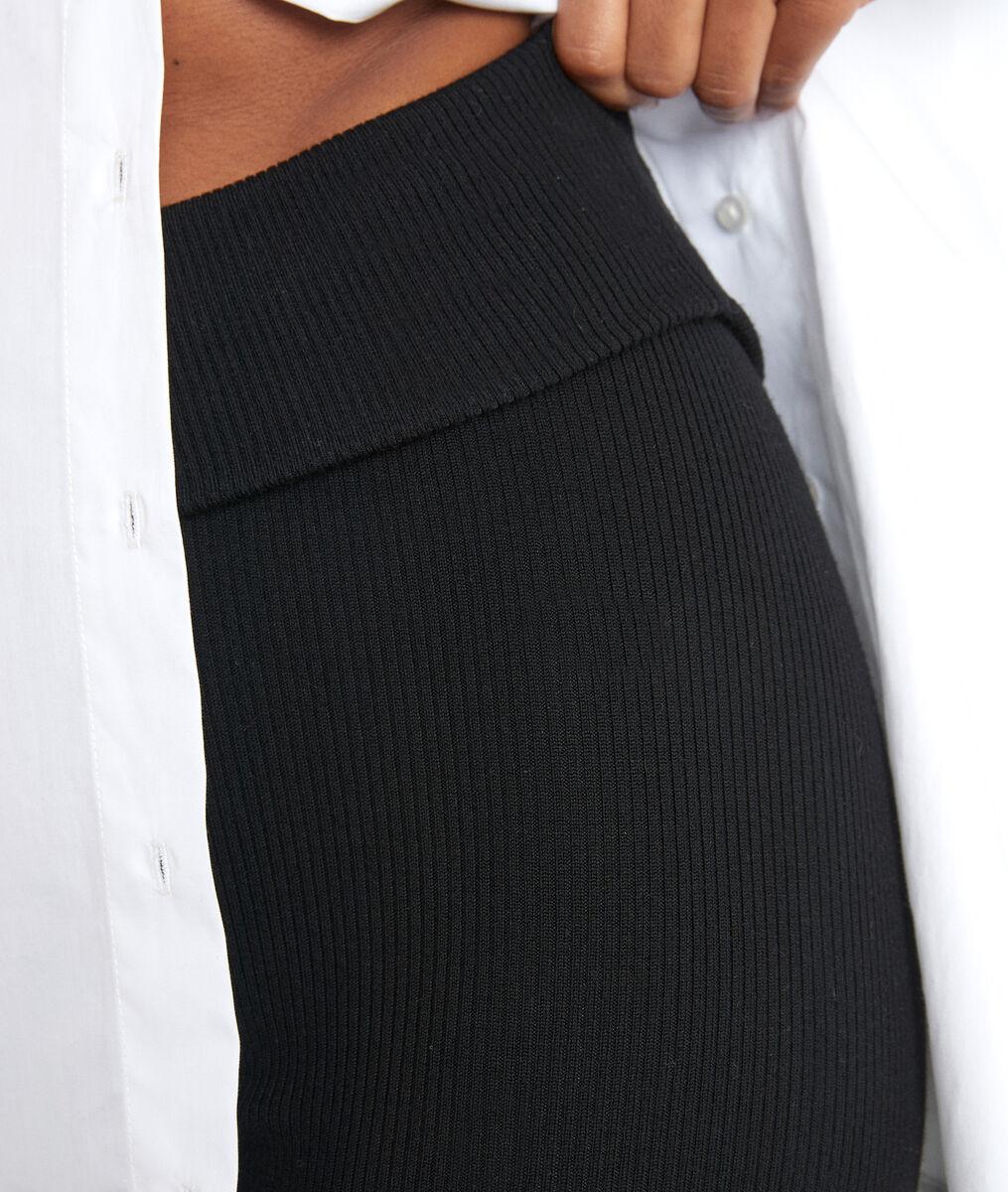 Zwarte broek van wollen ribstof in leggingmodel Theo PhotoZ   1-2-3