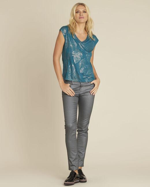 Smaragdgroen shirt met print Genight (1) - 37653