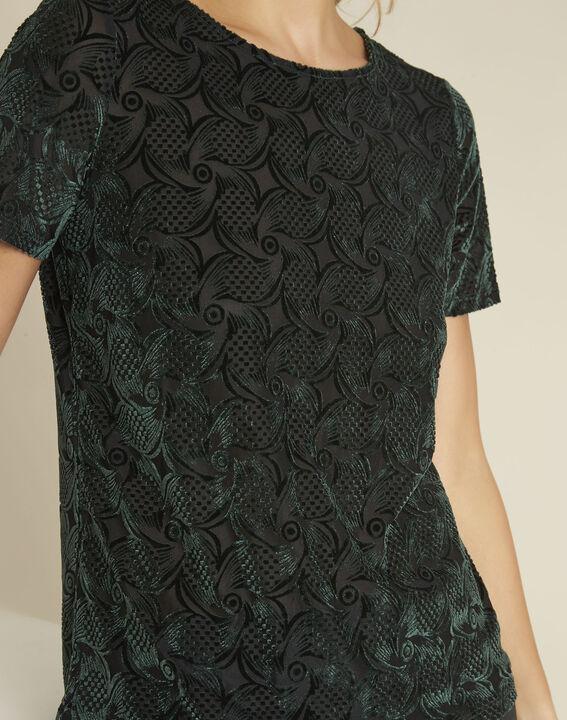 Tee-shirt vert foncé velours et dévoré Gelvet (3) - 1-2-3