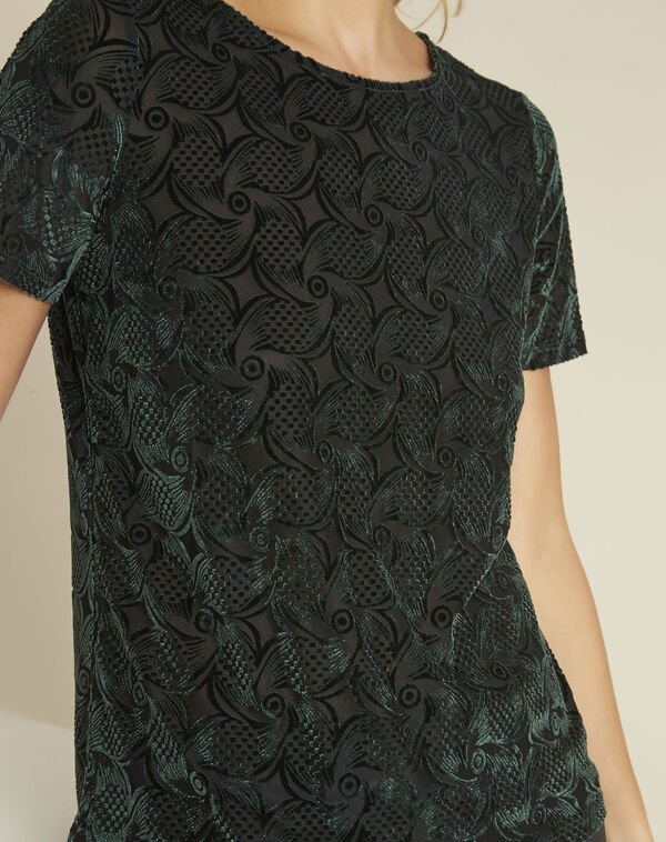 Gelvert dark green devore velvet t-shirt (2) - 1-2-3