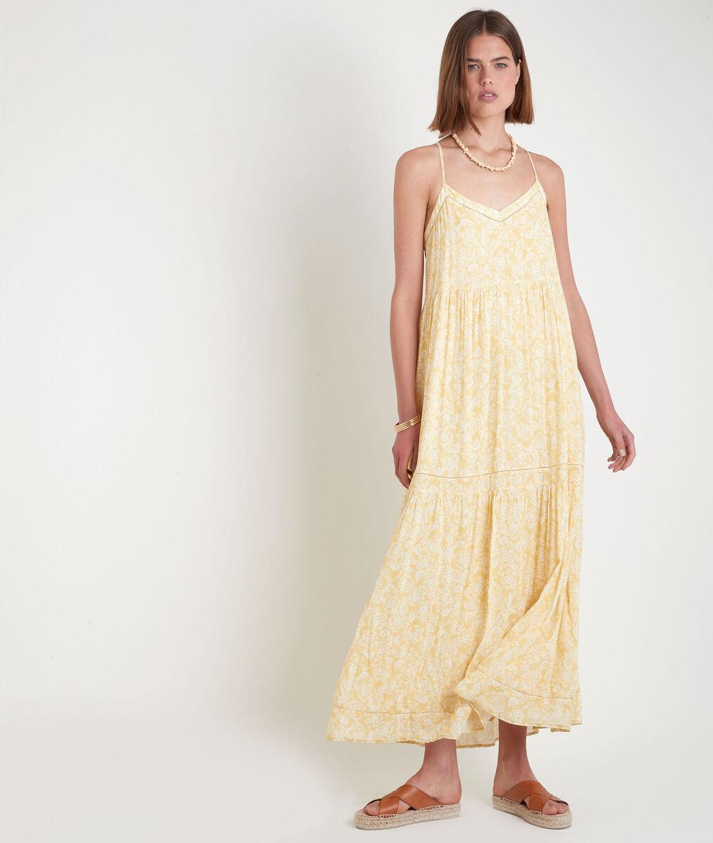 Gele lange jurk met print en fijne schouderbandjes Safia PhotoZ   1-2-3