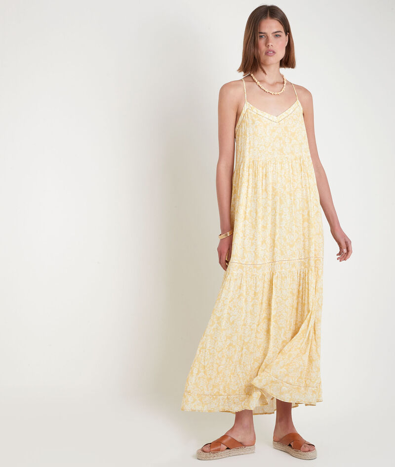 Robe longue à bretelles fines imprimée jaune Safia PhotoZ | 1-2-3