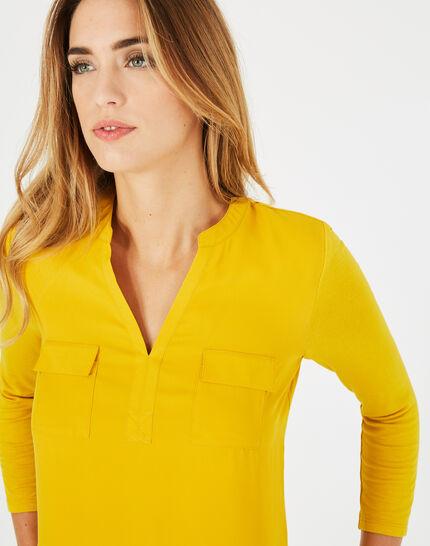 Gelbes T-Shirt im Materialmix Leden (3) - 1-2-3