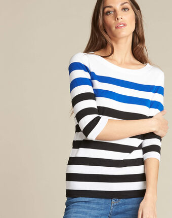 Eguemarine striped t-shirt with 3/4 length sleeves royal blue.