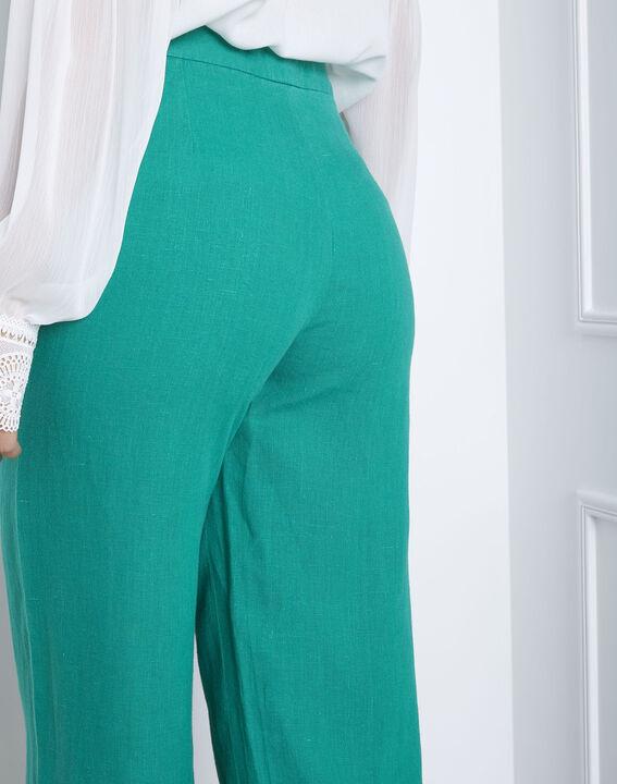 Pantalon vert court en lin Ghazala (4) - Maison 123