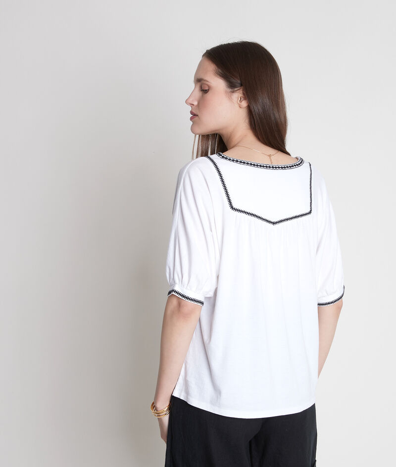 Tee-shirt loose brodé blanc Eglantine PhotoZ | 1-2-3