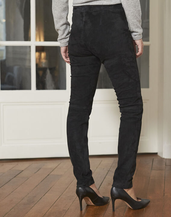 Pantalon noir en cuir velours Harvey (4) - 1-2-3
