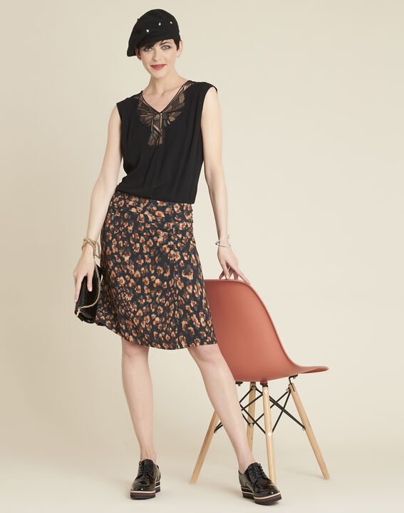 Astuce black skirt with an animal hide print  (2) - Maison 123