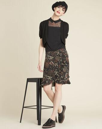 Jupe noire imprimé fleuri anis noir.