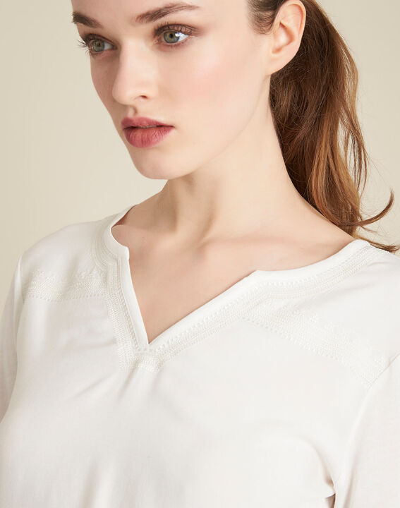 Greg ecru blouse with decorative neckline PhotoZ | 1-2-3