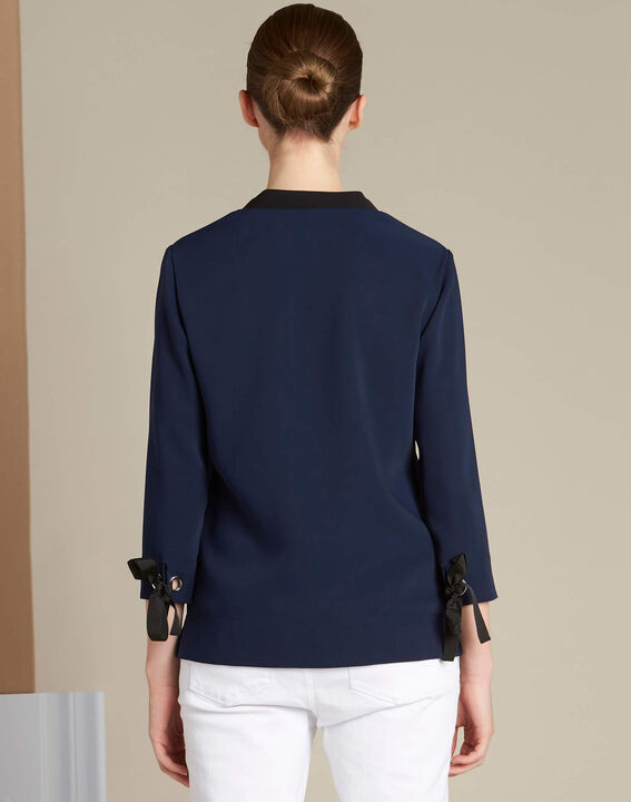 Georgina navy blue blouse with laced neckline (4) - 1-2-3