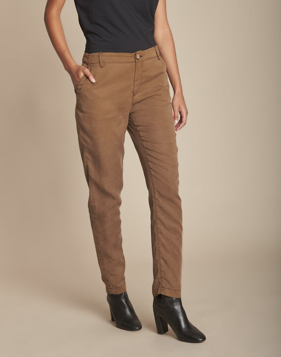 Pantalon marron cigarette en tencel Edgar PhotoZ | 1-2-3