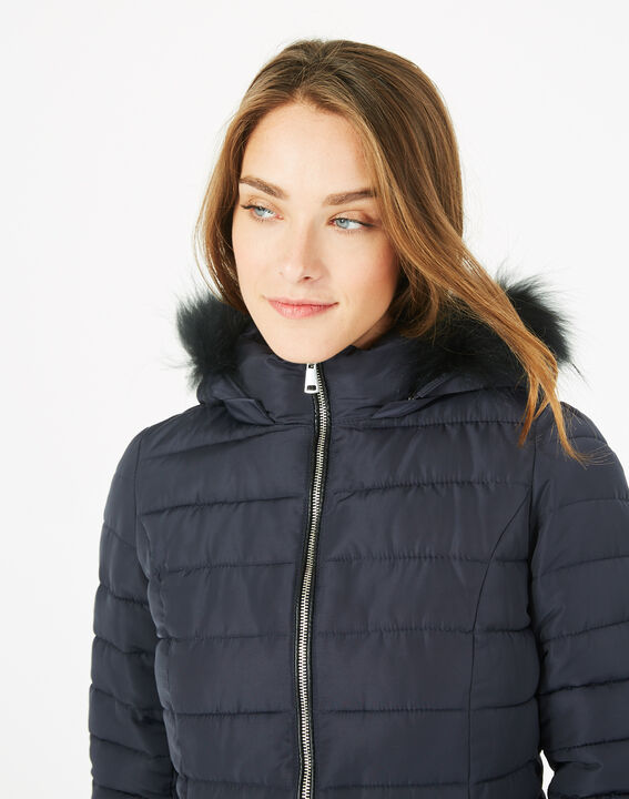 Rosie short navy blue puffer jacket with hood (3) - 1-2-3