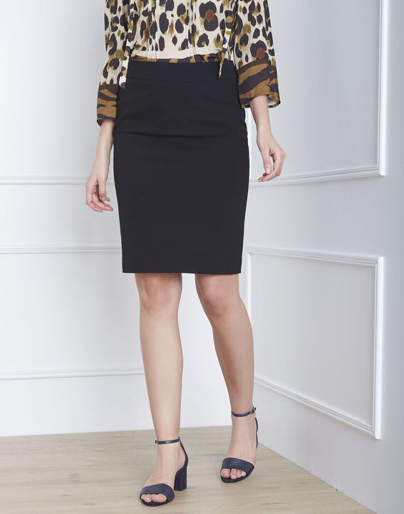 Fancy black straight-cut skirt with lateral band in microfibre (3) - 1-2-3