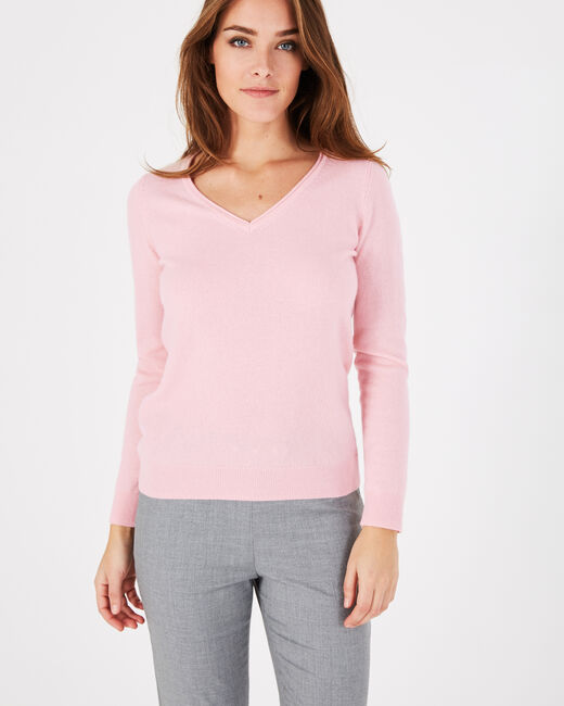 Pivoine pale pink V-neck sweater in cashmere (1) - 1-2-3