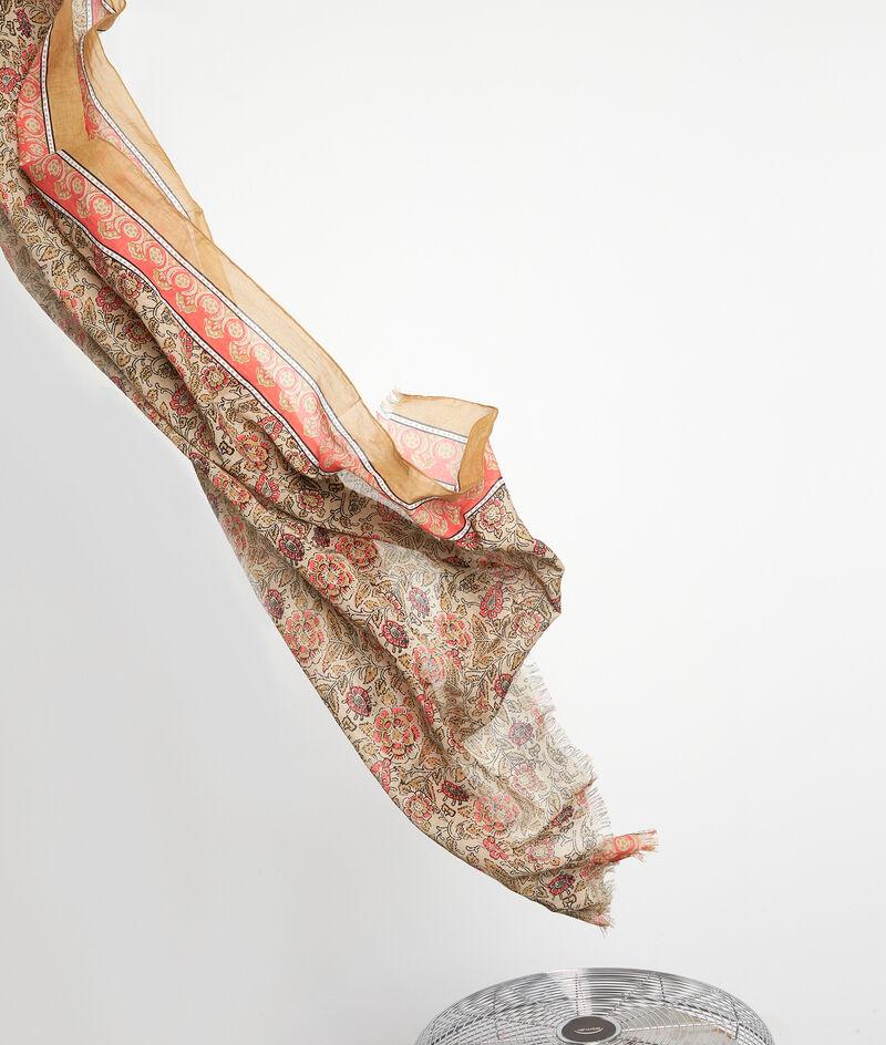 Foulard en coton imprimé beige et rouge Pablo PhotoZ | 1-2-3