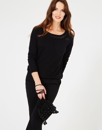 Petrouchka black sweater adorned with Swarovski crystals (3) - 1-2-3