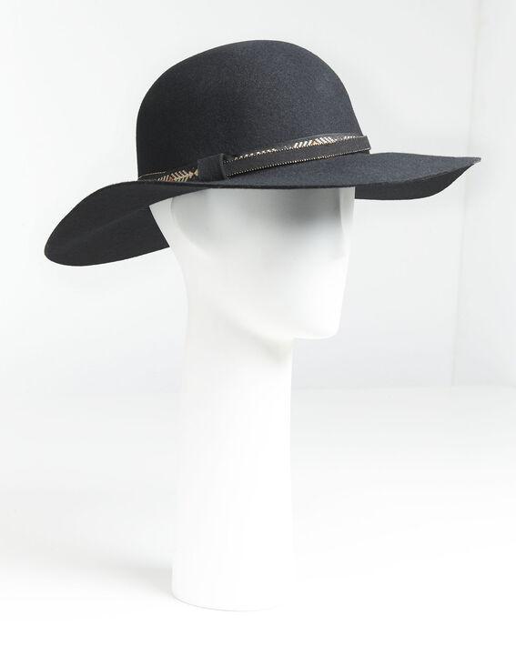 Ugo black felt wide brimmed hat with gem details (1) - Maison 123