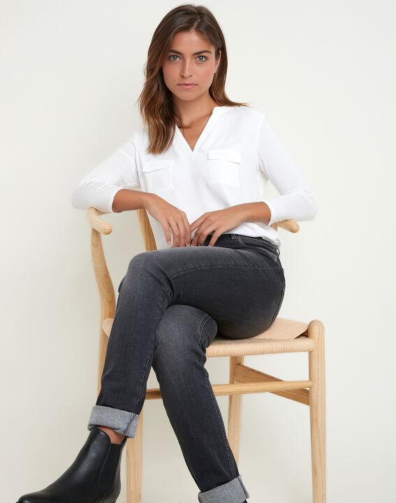 Ecrufarbenes T-Shirt im Materialmix mit Tunika-Kragen Genna (2) - 1-2-3