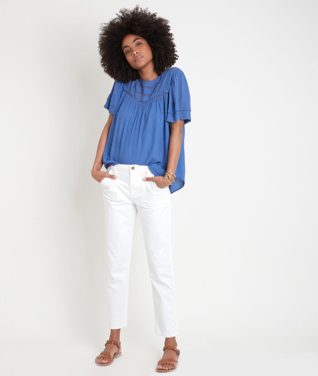 Blauwe wijde blouse met kant Abi PhotoZ | 1-2-3