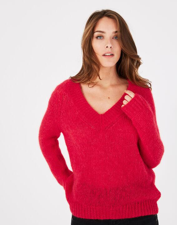 Roter Pullover mit V-Ausschnitt aus Mohair und Alpaka Paprika (2) - 1-2-3