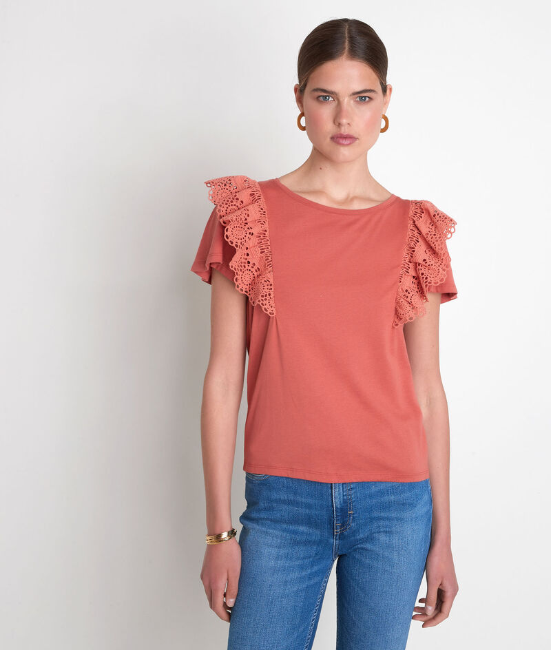Tee-shirt en coton biologique à broderies rose Eclat PhotoZ | 1-2-3