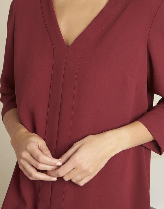 Robijnrode jurk met zakken van crêpe Devy (2) - 37653