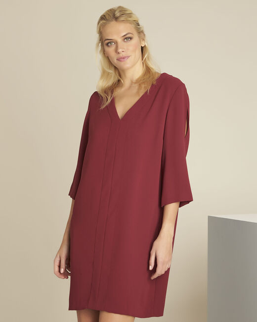 Robe rubis poches en crèpe Devy (2) - 1-2-3