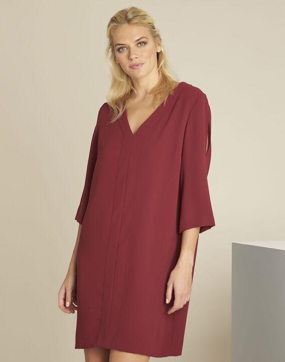 Robe rubis poches en crèpe Devy PhotoZ | 1-2-3