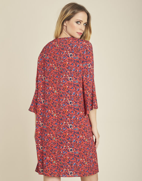 Deborah pink printed dress with lacing and pagoda sleeves (4) - 1-2-3