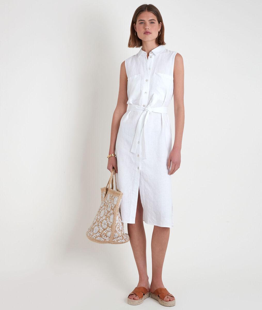 Robe chemise sans manches en lin certifié blanche Cyrielle PhotoZ | 1-2-3